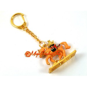 Brown Tribute Horse with Plate of Auspicious Fruits Keychain