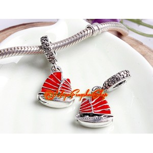 Chinese Wealth Ship Red Enamel Dangle Bead Charm (925 Silver)