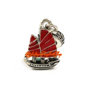 Chinese Wealth Ship Red Enamel Dangle Bead Charm (Silver Plated)