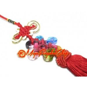 Colorful Crystal Liuli Feng Shui Mystic Knot Tassels