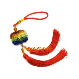 Colorful Liuli Pair of Feng Shui Piyao Tassel