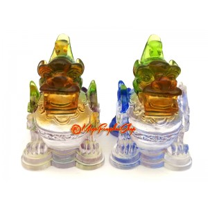 Colorful Liuli Pair of Good Fortune Feng Shui Pi Xiu
