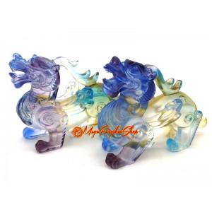 Colorful Liuli Pair of Winged Feng Shui Pi Chiu
