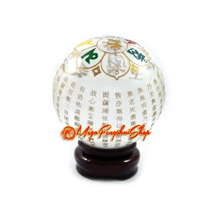 Crystal Ball with Heart Sutra and Om Mani Padme Hum