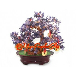Crystal Wishfulfilling Bonsai Tree with 9 Coins (Amethyst)