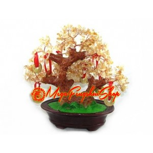 Crystal Wishfulfilling Bonsai Tree with 9 Coins (Citrine)