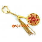 Double Pyramid Red Goddess Mirror Keychain