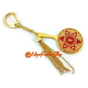 Double Pyramid Red Goddess Mirror Keychain