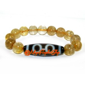 Dzi Bead with Citrine Bracelet