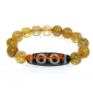 Dzi Bead with Citrine Bracelet
