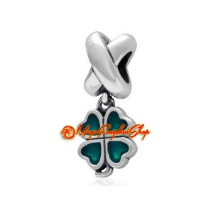 Enameled Four Leaf Clover Pendant Bead Charm (925 Silver)