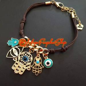 Evil Eye Bracelet with Hamsa Hand Fatima Palm