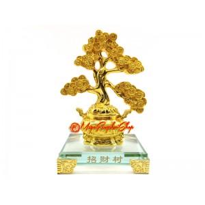 Exquisite Golden Feng Shui Wealth Granting Tree on Wealth Pot