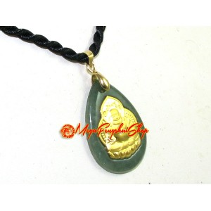 Exquisite Golden Laughing Buddha Jade Pendant (Grade A)