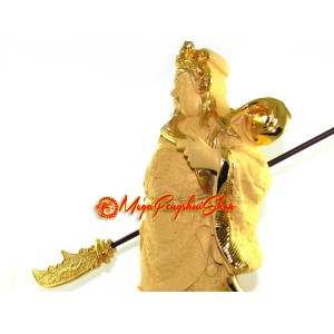 Exquisite Guan Gong Figurine in Sparkling Gold
