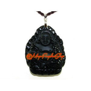 Exquisite Laughing Buddha Pendant (Obsidian)