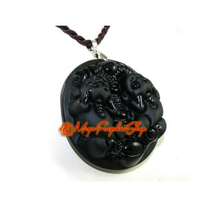 Exquisite Pair of Pi Yao for Wealth Pendant (Obsidian)
