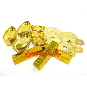 Feng Shui Gold Bars, Ingots and Coins Set