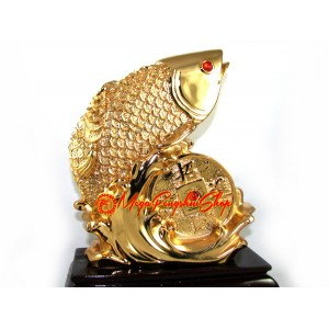Feng Shui Golden Arowana with Coin (L)