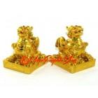 Feng Shui Pair of Golden Pi Xiu