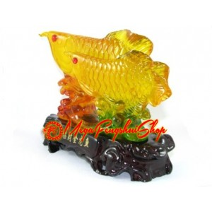 Feng Shui Resin Liuli Feng Shui Arowana and Child (Yellow)