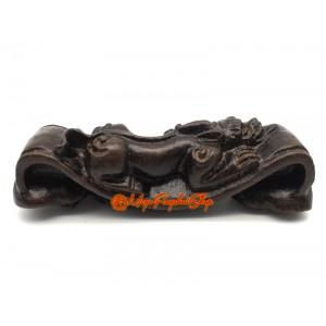 Feng Shui Ruyi with Bat and Pixiu - Wood