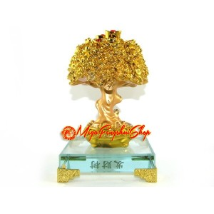 Feng Shui Wealth Tree with Gold Coins and Ingots