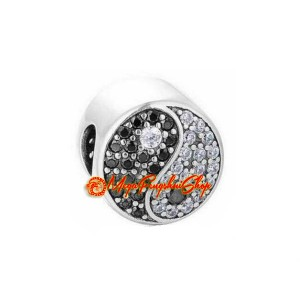 Feng Shui Yin Yang Symbol Bead Charm with Zircon Diamonds (925 Silver)