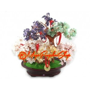 Five Element Feng Shui Crystal Tree with 9 Coins