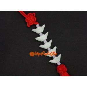 Five Jade Feng Shui Gold Ingots Tassel