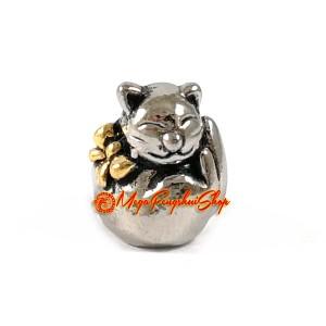 Fortune Cat Bead Charm (Silver Plated)