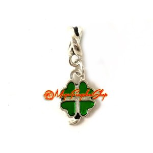 Four-Leaf Clover Dangle Lucky Charm (Silver Plated)