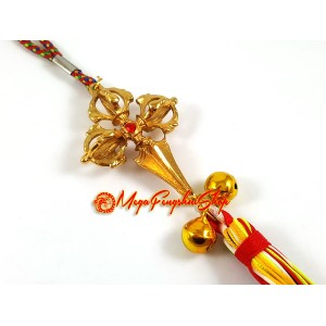 Golden Double Dorje Phurba Tassels