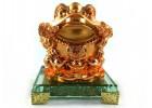 Golden Feng Shui Money Frog on Glass Base