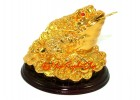 Golden Feng Shui Three Legged Toad in Stack of Treasure