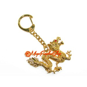 Golden Good Fortune Feng Shui Dragon Keychain