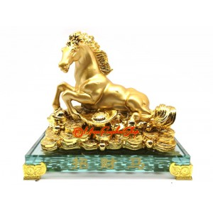 Golden Horse Resting on a Bed of Wealth