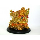 Golden Laughing Buddha on Dragon Tortoise