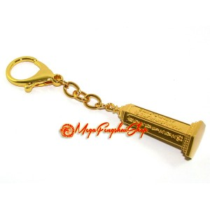 Golden Mantra Pagoda Feng Shui Keychain