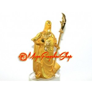 Golden Standing Kwan Kung on Glass Base