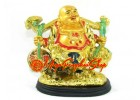 Golden Travelling Laughing Buddha