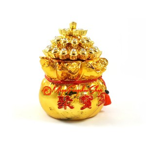 Golden Wealth Bag with Overflowing Gold Ingots