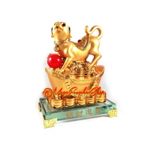 Good Fortune Golden Dog with Gold Ingot