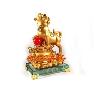 Good Fortune Golden Dog with Wealth Pot