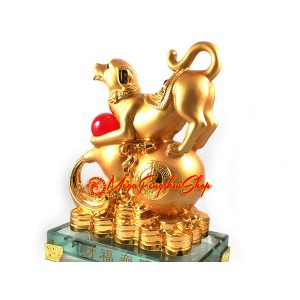 Good Fortune Golden Dog with Wu Lou