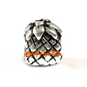Good Fortune Pineapple Bead Charm (Silver Plated)