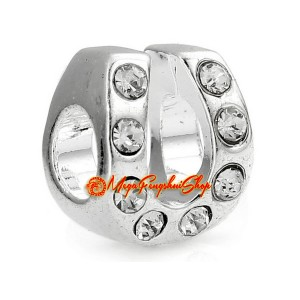 Good Luck Horseshoe with Rhinestone Bead Charm (Silver Plated)