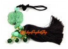 Jadeite Pair of Prosperity Piyao with Gold Ingot Tassel