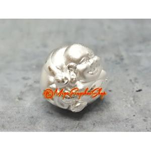 Laughing Buddha Bead Charm - 999 Silver