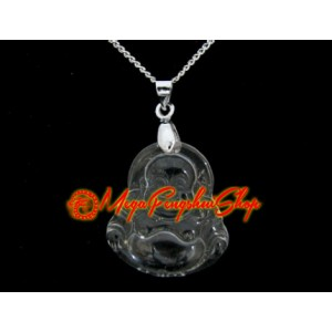 Laughing Buddha Crystal Pendant Necklace (Clear Quartz)
